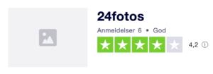 Trustpilot anmeldelser af 24fotos.dk