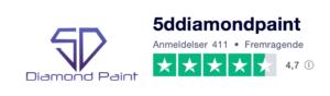 Trustpilot anmeldelser af 5DDiamondPaint.dk