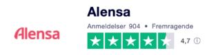 Trustpilot anmeldelser af Alensa.dk