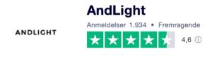 Trustpilot anmeldelser af Andlight.dk