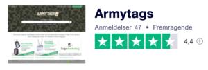 Trustpilot anmeldelser af Armytags.dk