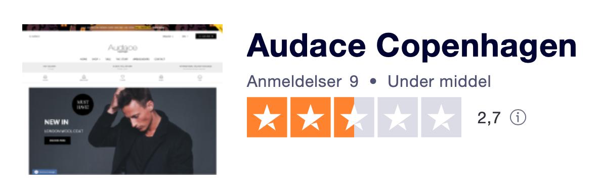 Trustpilot anmeldelser af AudaceCopenhagen.com