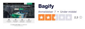 Trustpilot anmeldelser af Bagify.dk
