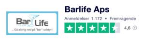 Trustpilot anmeldelser af Barlife.dk