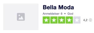 Trustpilot anmeldelser af BellaModa.dk