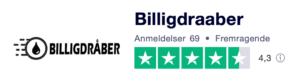 Trustpilot anmeldelser af BilligDraaber.dk
