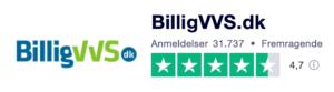 Trustpilot anmeldelser af BilligVVS.dk