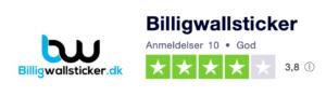 Trustpilot anmeldelser af Billigwallsticker.dk