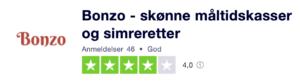 Trustpilot anmeldelser af Bonzo.dk