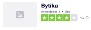 Trustpilot anmeldelser af ByTIKA.dk