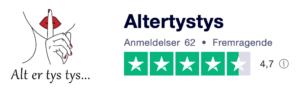 Trustpilot anmeldelser af AltErTysTys.dk