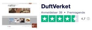 Trustpilot anmeldelser af DuftVerket.dk