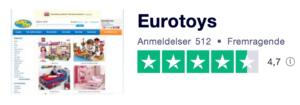 Trustpilot anmeldelser af Eurotoys.dk