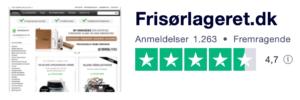 Trustpilot anmeldelser af Frisorlageret.dk