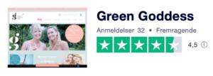 Trustpilot anmeldelser af GreenGoddess.dk