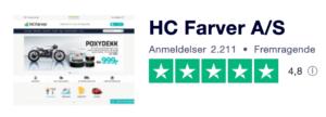 Trustpilot anmeldelser af HCfarver.dk