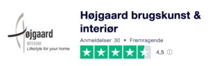 Trustpilot anmeldelser af HoejgaardBrugskunst.dk