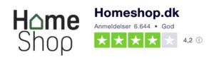Trustpilot anmeldelser af HomeShop.dk