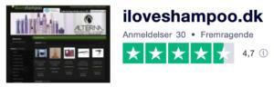 Trustpilot anmeldelser af Iloveshampoo.dk