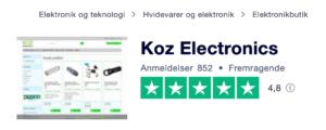 Trustpilot anmeldelser af KOZ.dk