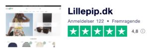 Trustpilot anmeldelser af LillePip.dk