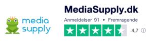 Trustpilot anmeldelser af MediaSupply.dk