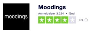 Trustpilot anmeldelser af Moodings.com