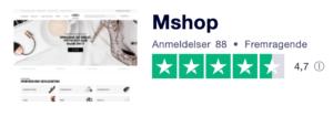 Trustpilot anmeldelser af Mshop.dk