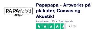 Trustpilot anmeldelser af PapaPapa.dk