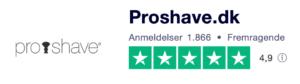 Trustpilot anmeldelser af Proshave.dk