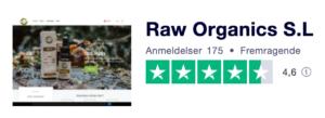 Trustpilot anmeldelser af RawOrganics.dk
