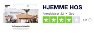 Trustpilot anmeldelser af Shop.HjemmeHos.dk