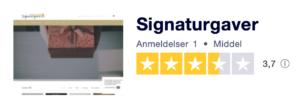 Trustpilot anmeldelser af Signaturgaver.dk