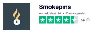 Trustpilot anmeldelser af Smokepins.dk