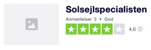 Trustpilot anmeldelser af SolsejlSpecialisten.dk