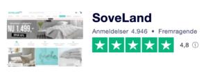 Trustpilot anmeldelser af Soveland.dk
