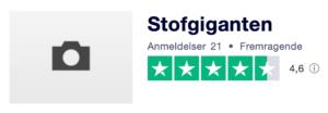 Trustpilot anmeldelser af Stofgiganten.dk