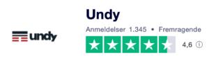 Trustpilot anmeldelser af Undy.dk