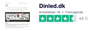 Trustpilot anmeldelser af dinLED.dk
